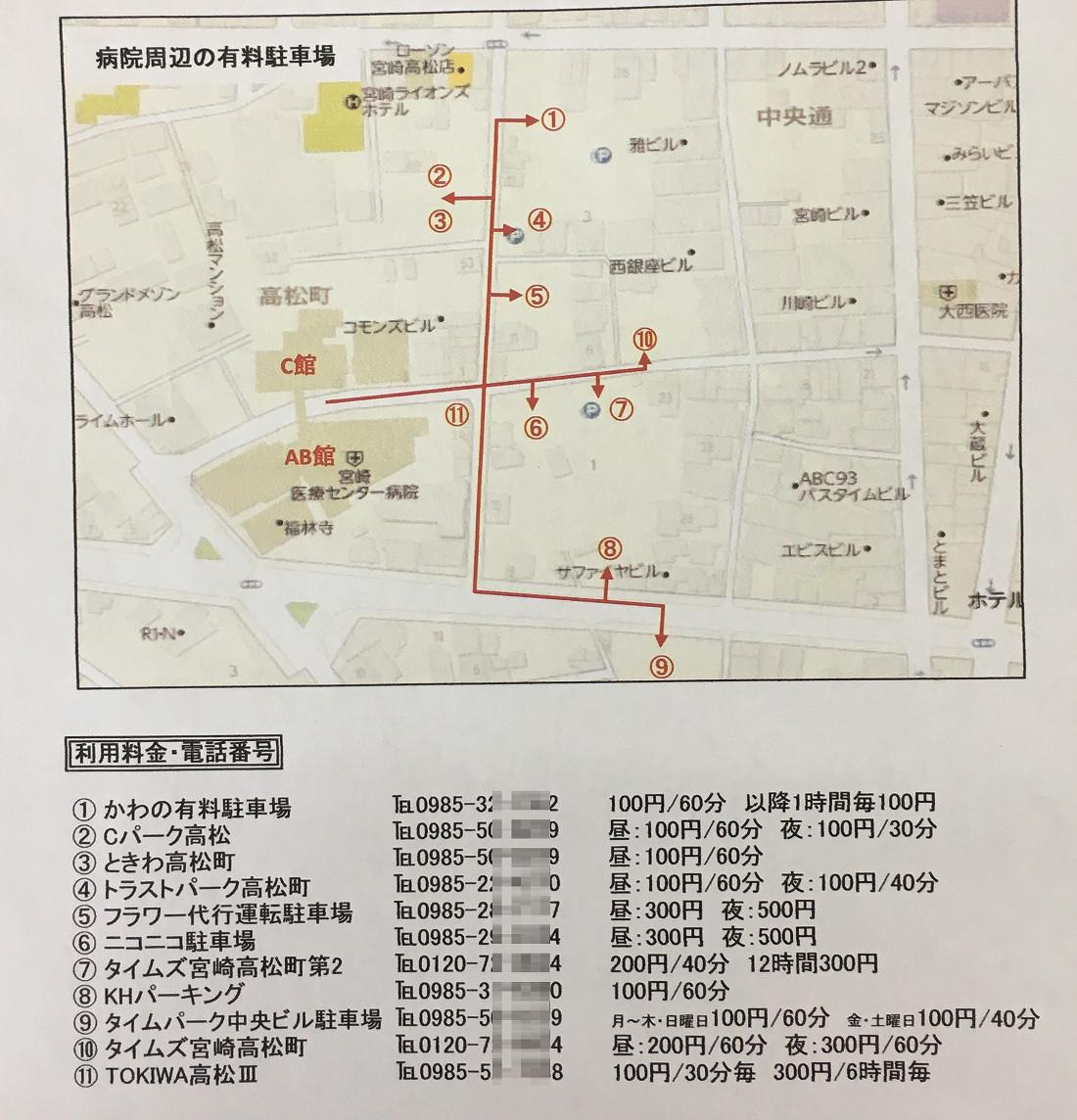 宮崎医療センター周辺の時間貸し駐車場