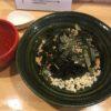 冷たい豚肉麺に山芋トッピング
