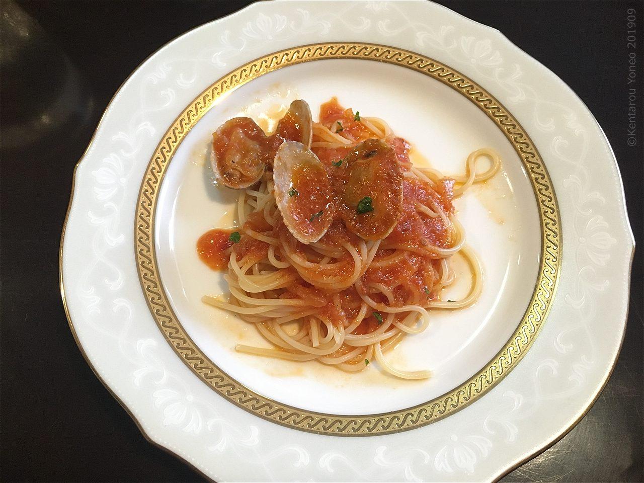 カプチーノのトマト系パスタ